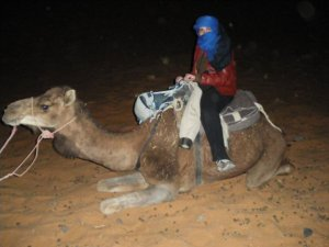 Ana Beatriz Ribeiro, editor of The Leipzig Glocal, on top of a camel in the Sahara Desert in Morocco.