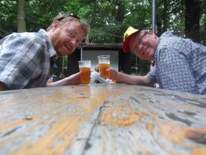Dave Murphy (left) enjoying a beer with a friend. Photo provided by D. Murphy.