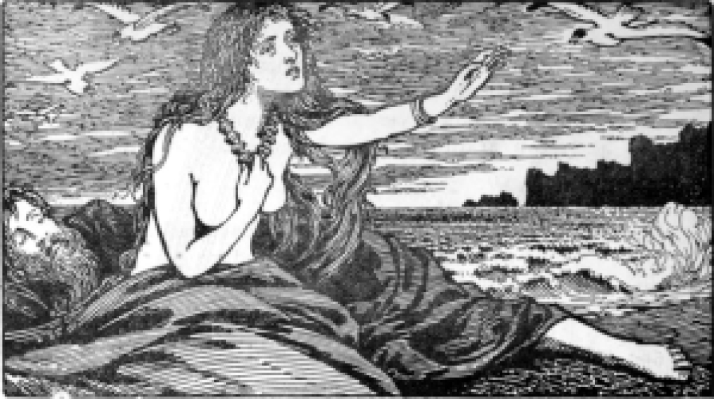 Skadi's Longing for the Mountains. By W.G. Collingwood (1854 - 1932) [Public domain], via Wikimedia Commons