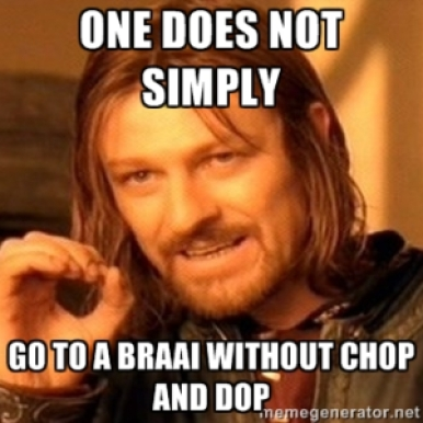 """Braai, South African barbecue, a beloved Sunday tradition like in other parts of the world; another way to call it is """"Chop and Dop."""""""