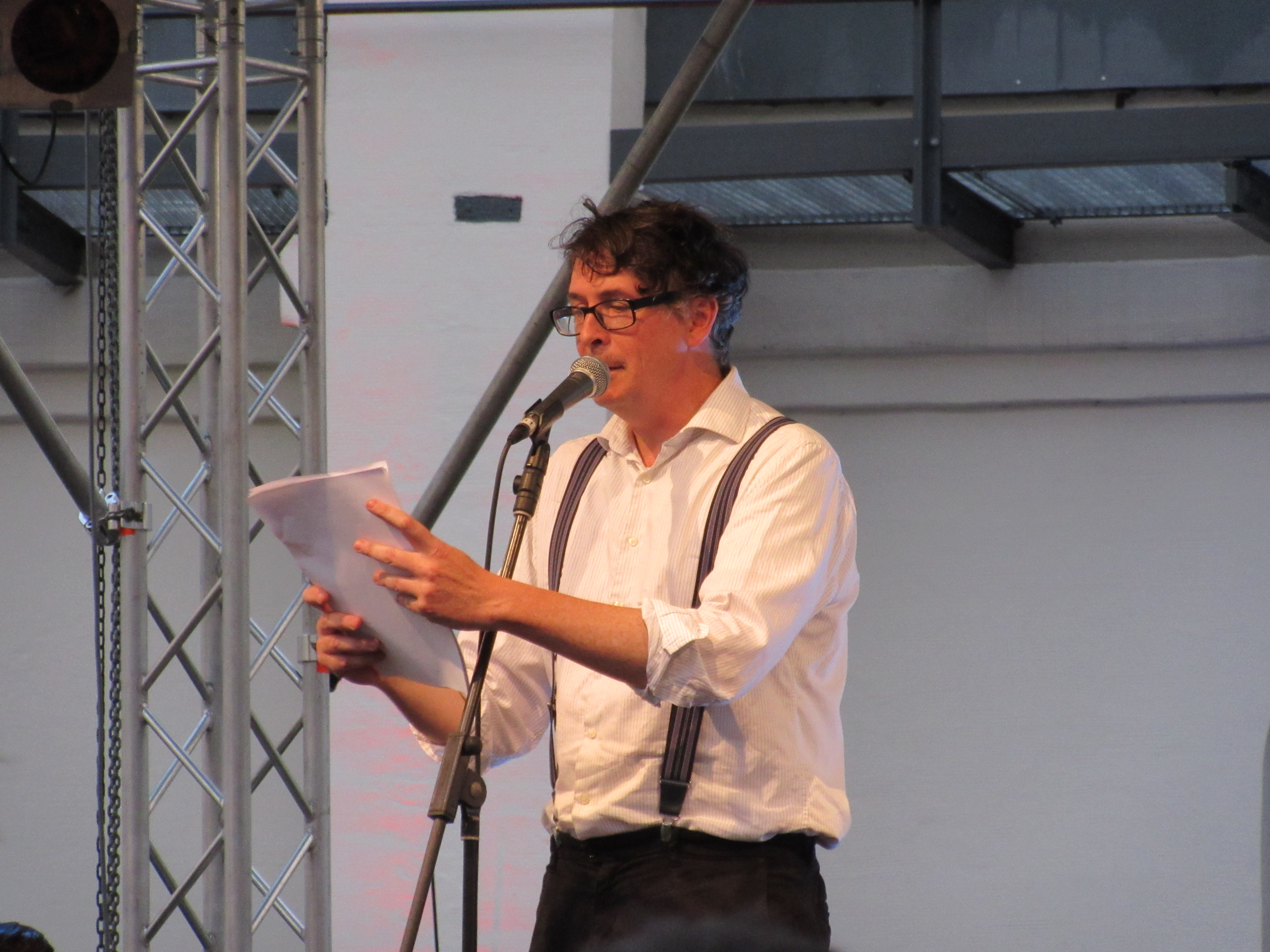 special hanging at an open air poetry slam in leipzig the leipzig