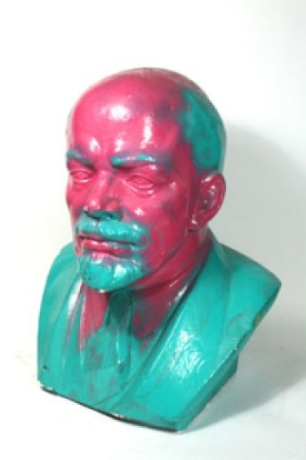 """Vandalized Lenin Bust, 1965/89."" Plaster, 8 in. x 6 ¾ in. x 5 ¾ in. (20 cm x 17 cm x 14.5 cm). East Germany - Sculptures. Wende Museum, CA, USA. http://www.wendemuseum.org/collections/vandalized-lenin-bust"