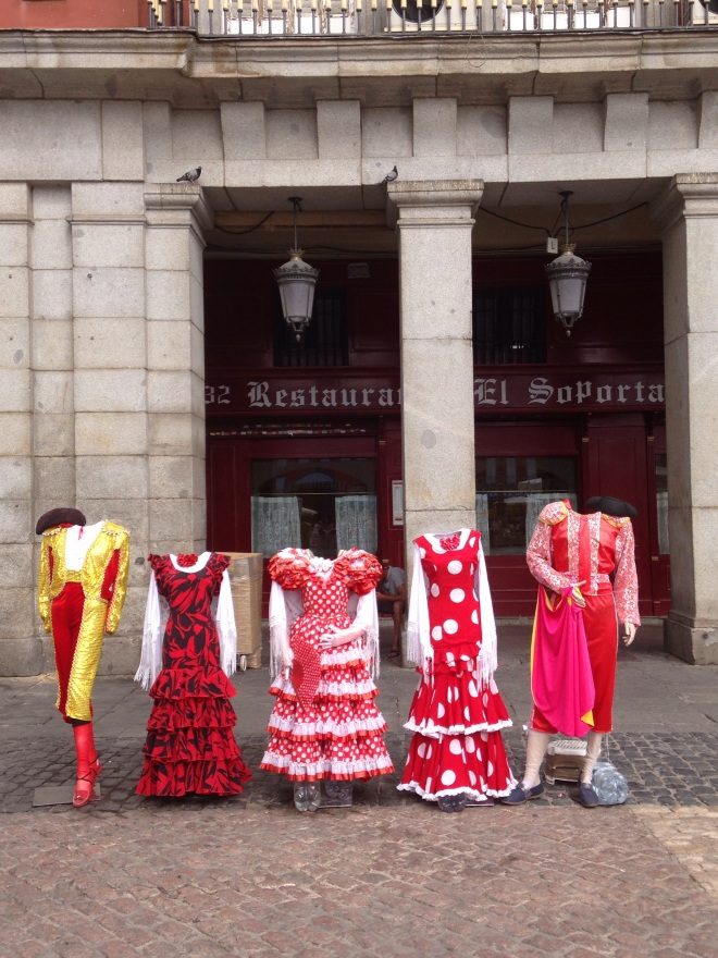 Typical Spanish outfits where people can put their heads through, at Plaza Mayor, Madrid. Photo by A. Ribeiro.