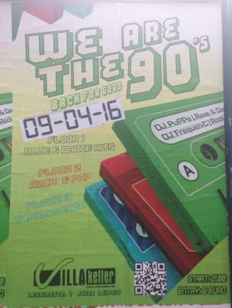 90s party on April 9th