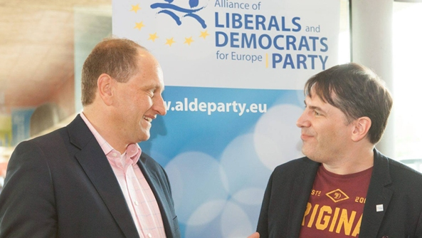 Chris Pyak, (right) and Alexander Graf Lambsdorff, Vice President of the European Parliament